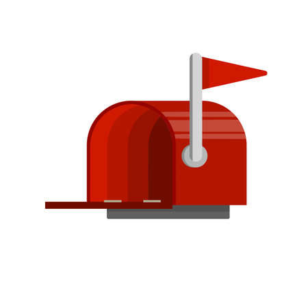 Open Red mailbox. Mail and message. Cartoon flat illustration. Work post office. Communication between people 向量圖像
