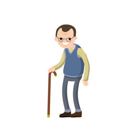 Funny old man with cane. Senior and Active Lifestyle, recreation grandfather. Cartoon flat illustration.