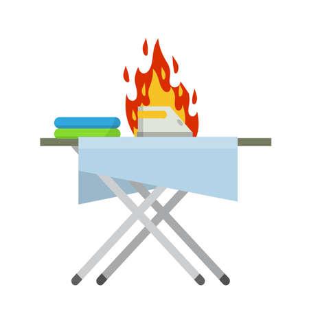 Forgotten iron on the Ironing Board. Folded sheets. Broken appliances. Fire danger. Safety compliance with smoke. Cartoon flat illustration Vecteurs