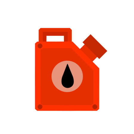 Canister with fuel. Red gas tank. Container with oil. Flammable object. Flat cartoon icon isolated on white background.