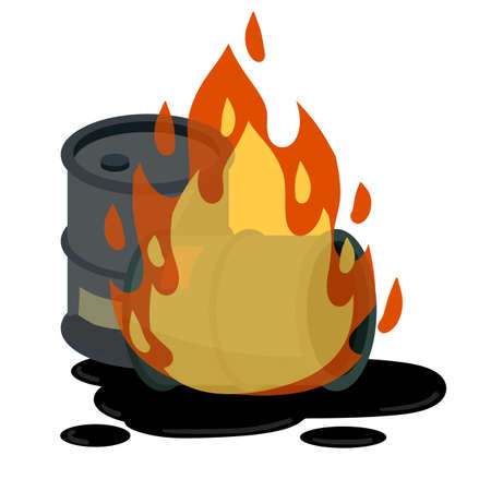 Barrel of oil. Burning fossil fuels. Petroleum packaging. Fire in gasoline Tank. Resource crisis. Accident and flames. Cartoon flat illustration Ilustração Vetorial
