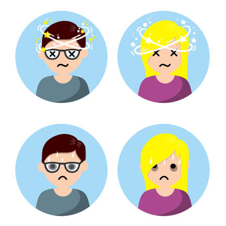 Dizziness and nausea. Painful and Weak condition of man and woman. Comic star spinning around head. Sweating and depression. Health problem flat icon