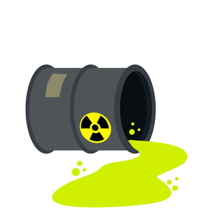 Barrel of radioactive waste. Radiation and green liquid. Dangerous object. Problems of ecology and irradiation. Leaked Hazardous tank. Industry and technology.
