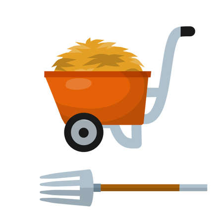 Haystack, red wheelbarrow, pitchfork. Tool for harvesting. Rural landscape. Sheaf of wheat. Cartoon flat illustration. Organic food