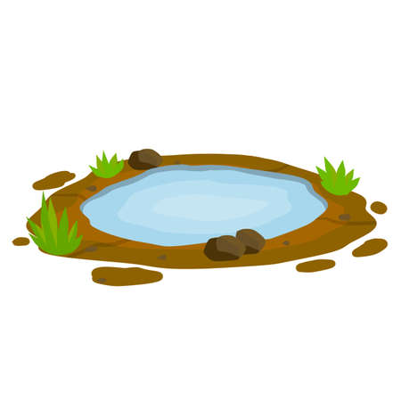 Pond and swamp, lake. Landscape with grass, stones. Background for illustration. Flat cartoon. Element of nature and forests and water. Platform and ground
