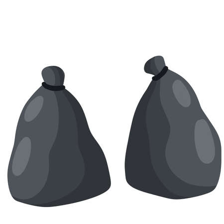 Black trash bag and trash. set of objects. Cartoon flat illustration. Plastic packaging. Processing of wastes. problem of ecology and junk Stock Illustratie