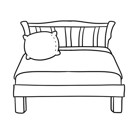 Bed with soft pillow. Bedroom and room element. A place to sleep and relax. The furniture and a blanket. Black and white hand-drawn illustration. Cartoon picture Vector Illustratie