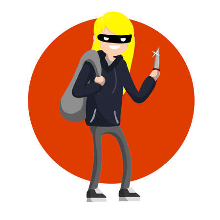 Man with knife extorting money. Hand holding green cash. Problem of urban security. Thief at work. Extortion and robbery. Illustration