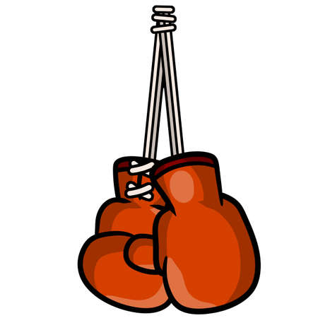 Boxing glove. Red elements of sportswear. Fist fight. Cartoon drawn illustration. Sport equipment. Fight and hit. punch and combat.