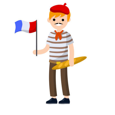 Young French guy in striped t-shirt with a red tie. man with the flag of France and bread. national costume. European tourism - Cartoon flat illustration
