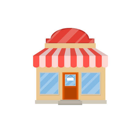 Small shop. Store with red and white roof. Food trade and coffee shop. Facade of the house with showcase. Cartoon flat illustration. Town and city. Element of urban landscape 向量圖像