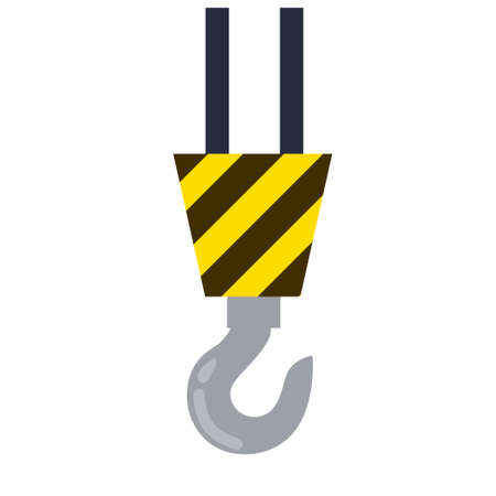 Hook. Industrial crane. The lifting of the load. Item of the plant and of the factory. Transportation and tool isolated on white background. Flat cartoon