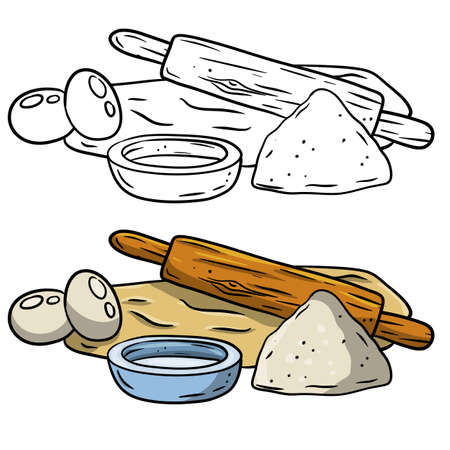 Rolling pin and dough. Wooden appliance for kitchen and cooking. Cartoon doodle illustration.