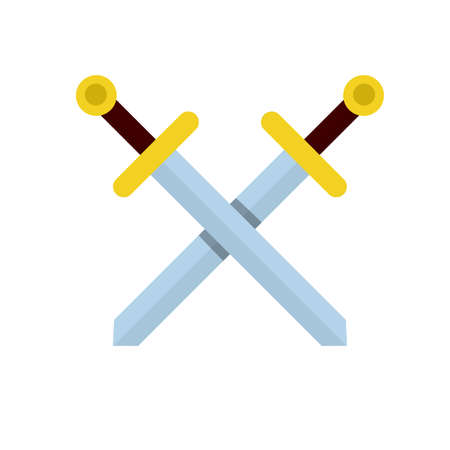 Crossed sword. Medieval knight's weapon. Soldier item. Symbol of war and battle. Sharp blade and handle of blade. Logo and coat of arms. Cartoon flat illustration