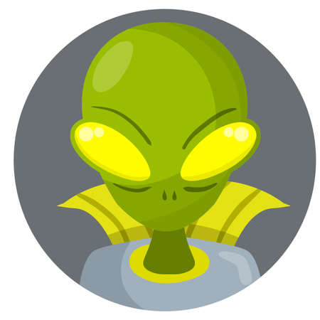 Alien. Extraterrestrial monster with green head and Big eyes. Martian and UFO. Space creature and visitor. Science fiction icon. Cartoon flat illustration in circle