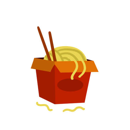 Box of noodles. Asian fast food with chopsticks. Red packaging of macaroni. Japanese and Chinese junk street food. Flat cartoon illustration