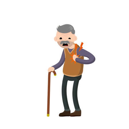 Heart attack. Old man health. cardiac failure of senior. stroke symbol. character holds his hand to his chest. Cartoon flat illustration. Problems and disease. Sore spot and pain Vector Illustration