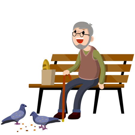 Man sits on bench and feeds pigeons. Element of Park and city. Cartoon flat illustration. Grandfather in pew. Senior with cane. Rest of pensioner. Poultry and bread crumbs