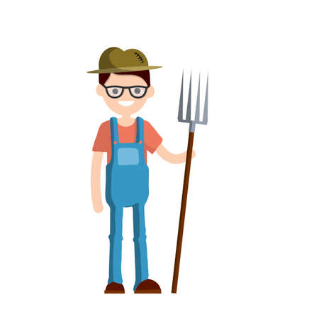Man farmer in overalls with fork in hands. Rural type of work. Production of natural food in the village. Guy in hat with tools. Cartoon flat illustration