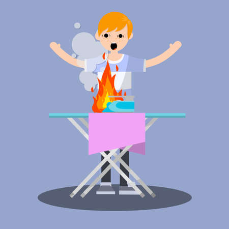 Fire in the house. Shocked the Guy waving arms. dangerous situation with iron. a bad garment and Ironing Board. compliance with safety standards. careful handling - Cartoon flat illustration
