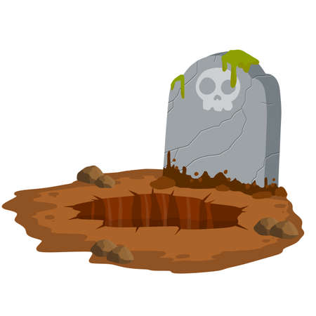 Stone tombstone stands on ground with grave. Celebration of Halloween. Cartoon illustration. Skull on stone. Detail cemetery. Moss on monument