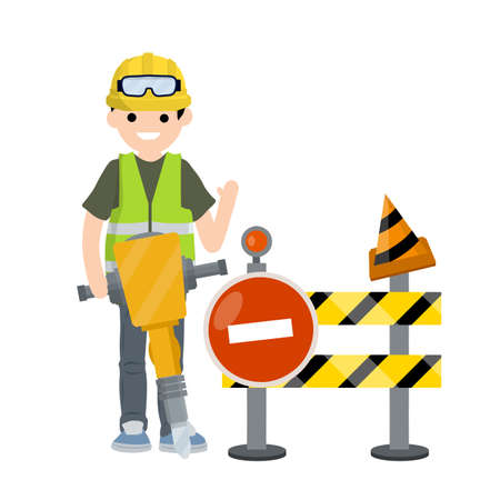 Construction work. road is closed for repairs. Clothing and tools worker. Yellow uniform, gloves, jackhammer, goggles, green vest and helmet. Cartoon flat illustration. Yellow sign and cone.