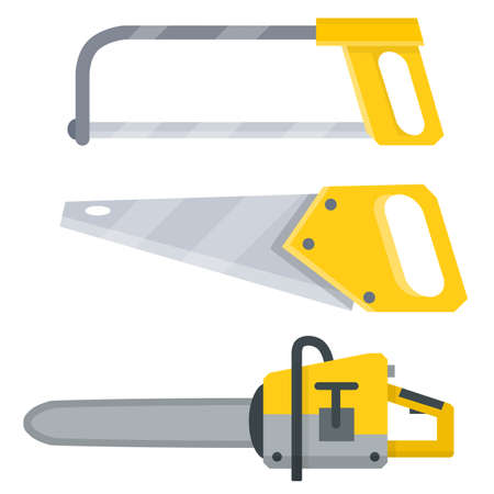 Jigsaw, yellow saw, chainsaw. Electrical appliance. Tool worker, Builder, carpenter and lumberjack. object for installation, repair and technical maintenance. The cutting, carving and felling of trees Illustration