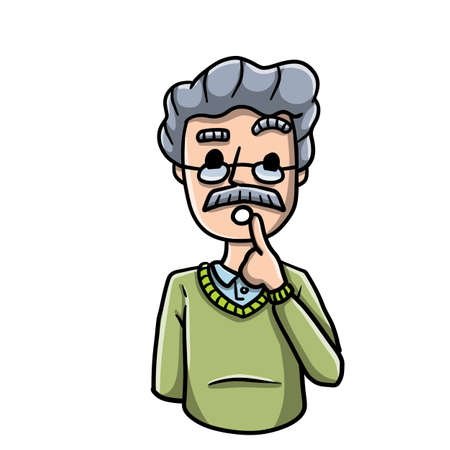 Confused man. Doubts and gesture finger at hands. Emotions of hesitation, suspicion and mistrust. Cartoon embarrassed bearded character. Guy and question Ilustração