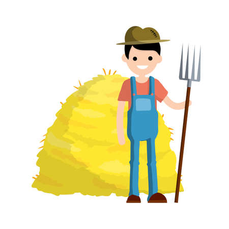 Farmer in blue jumpsuit and hat with fork in hands. Yellow haystack. Kind of profession. Rural boy. Rustic guy. Cartoon flat illustration. Production of natural food. Village character