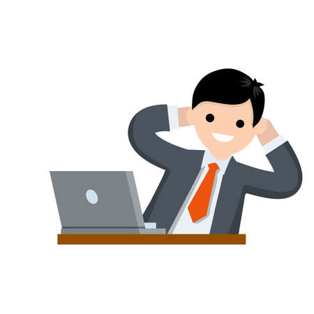 Successful businessman in suit. Gesture with hand behind head. Rest at work with computer on table. Happy man in tie. Business or pleasure. Cartoon flat illustration