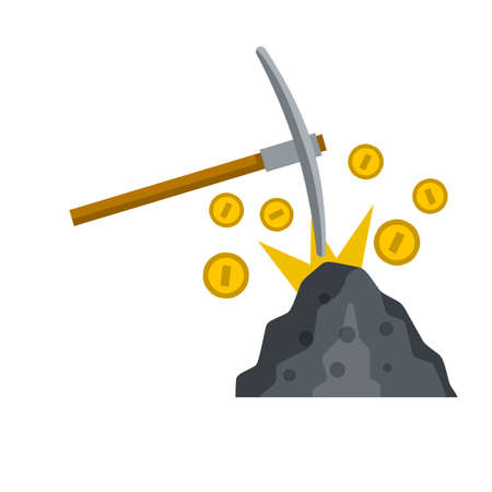 Miner pick and gold coins. Cryptocurrency and earnings on Internet. Cartoon flat illustration. Stone and ore. Income and profit. Extraction of minerals