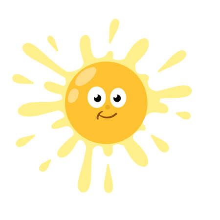Yellow warm object. Cartoon illustration. Children's drawing. Heat and hot with funny cute face.