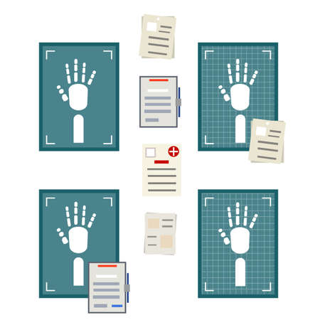 X-ray of human hand. White bones in blue picture. Element of doctor office. Fracture analysis. Human injury. Medical care in hospital. Health problem. Cartoon flat illustration