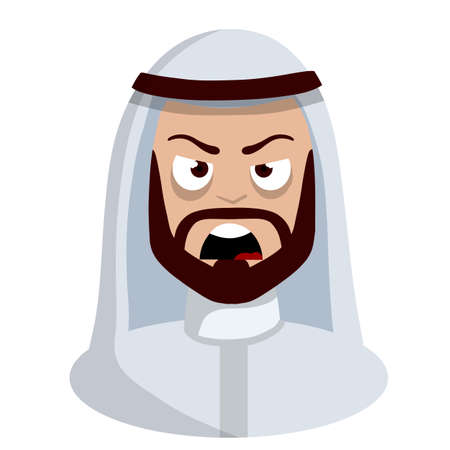 Angry face of Arab man in white national dress. Negative emotion. Evil look. Cartoon flat illustration. Screaming guy