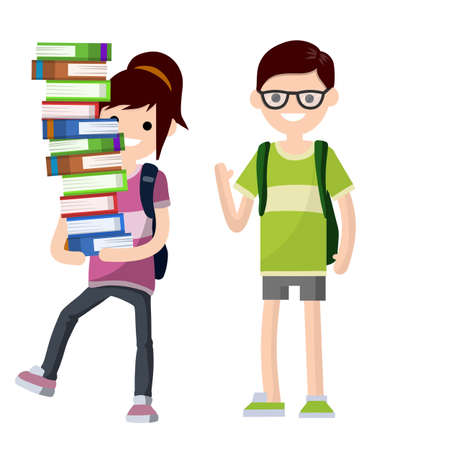 Young students with book and backpack. Boy and girl at school. Funny Couple. Woman carries heap of books. Education and studies