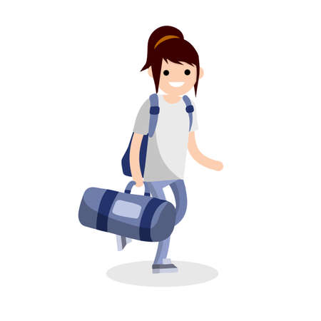 Girl runs with a big blue sports bag. Woman goes to training and carries load. Backpack and vacation. Character in jeans and white t-shirt. Cartoon flat illustration Ilustração