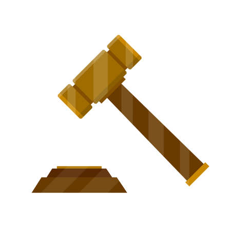 Judge hammer. Symbol of lawyer, judiciary and state. subject of knocking. Opening of meeting and hearing of case. proceeding in city hall. Wooden element