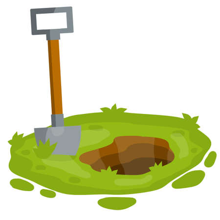 Shovel on green lawn. Digging hole in garden. bed and tool of farmer. Summer season. Cartoon flat illustration