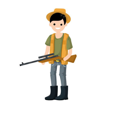 Guy with rifle. Shooter and weapon. Cartoon flat illustration. Equipment for hunting animals Vektorgrafik