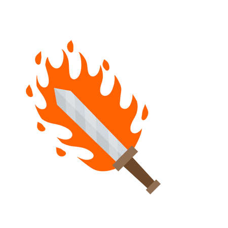 Fiery sword. Magic weapon of knight, sorcerer, magician. Fire spell. Burning blade. The medieval element of game. Dangerous hotter the flames. Illusztráció