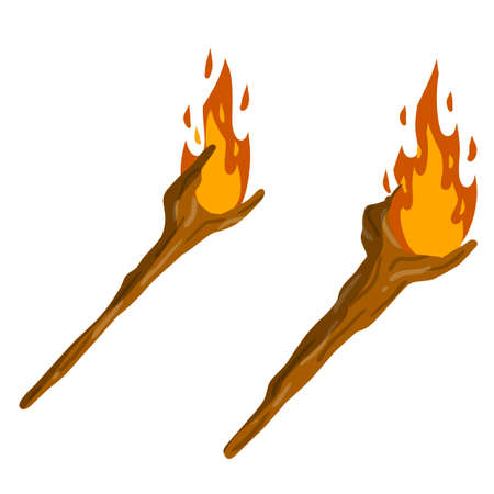 Torch on stick. Primitive weapon. Burning club. Cartoon flat illustration. old item for lighting. Fire and branch