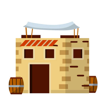 Arab house. Medieval stone building in middle East. Element of old city and landscape. Brown walls. Cartoon flat illustration. Barrel, canopy, window and door
