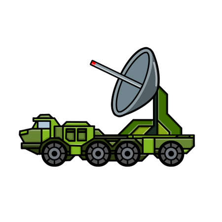 Military truck. Army transport with antenna. Modern appliances in protective green color. Radar and detection system. Scanning and recognition. Cartoon illustration Иллюстрация