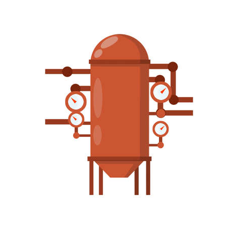 Vector Boiler for heating water. Element of house, bath and toilet system. Cartoon flat illustration. Overloaded steam boiler. Accident, explosion and smoke. Tank with pipe and dial
