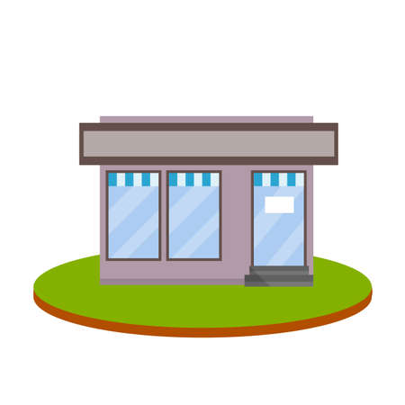 Small shop. Store with red and white roof. Food trade and coffee shop. Town and city. Element of urban landscape. Facade of the house with showcase. Cartoon flat illustration