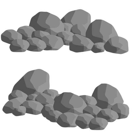 Set of gray granite stones of different shapes. Flat illustration. Minerals, boulder and cobble. Element of nature, mountains, rocks, caves  イラスト・ベクター素材