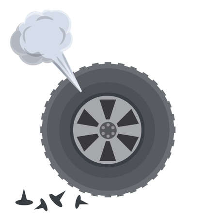 Deflated automobile tire. Punctured wheel of car. Cartoon flat illustration. Comic air and smoke. Accident and repair. Element of Tire service station