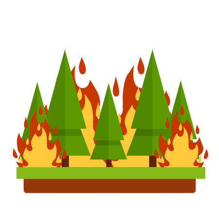 Forest fire. Natural disaster. Woodland problems. Careless handling of fire. Dangerous situation. Tree and flame. Green plant in the summer season. Flat cartoon