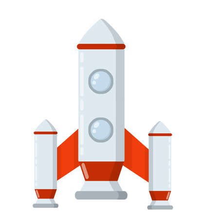 Rocket. Spaceship with porthole. Flight into space. Scientific discovery and colonization of planets. Children's drawing. Red-and-white flat cartoon spacecraft