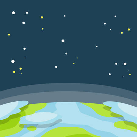 Space. Earth orbit. Sky and the universe with stars. Exploring the world. Space object with sea and cloud. Flat cartoon illustration Иллюстрация